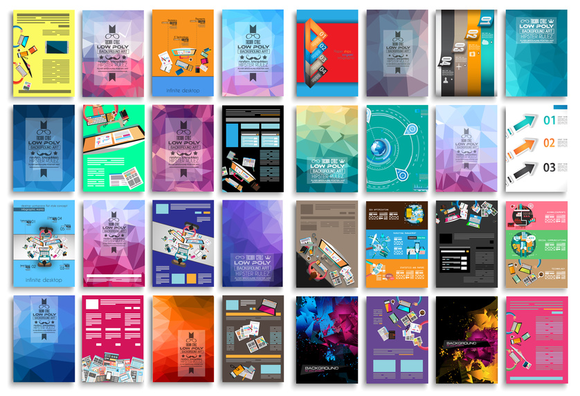 Set of Flyers, background, infographics, low polygon backgrounds, teamwok concepts and so on. 16 pieces with different styles and colors.